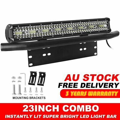 23'' inch Tri-row Philips LED Light Bar Combo + Number Plate Frame Mount Bracket