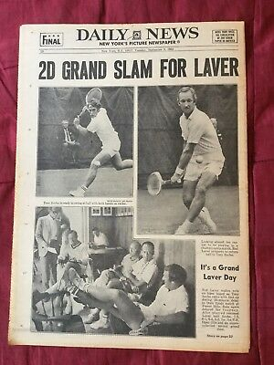 Rod Laver - Tennis - U.S. Open - 1969 New York Daily News Newspaper