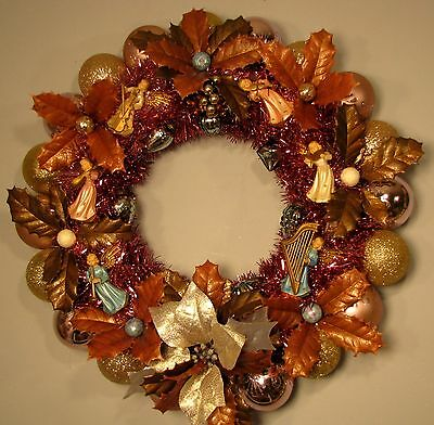 Vintage Angels & Holly Christmas Ornament Wreath