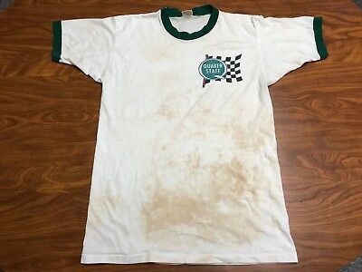 Vintage Distressed 70's Quaker State Oil Drag Racing Crew Paper Thin Shirt S/m