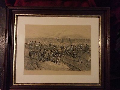 """Artist Edwin Forbes Original Copper Plate Etching """"The Lull in the fight"""" 1876"""