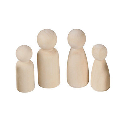 20X Unfinished Wooden Doll Peg Educational Female Male Paint Kids Toy Hard Hot