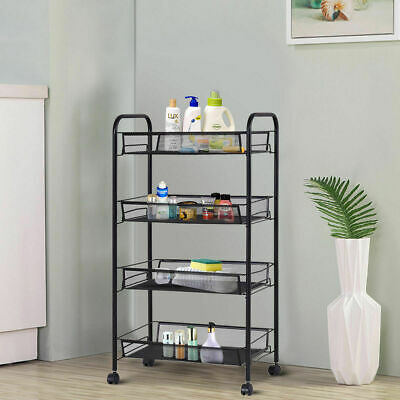 3 Tier Mesh Trolley Rolling File Utility Cart Home Office Kitchen Storage Basket