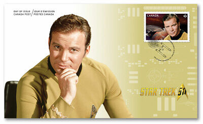 Star Trek 50th Kirk Shatner FDC Official First Day Cover 2016 Canada Post Stamp