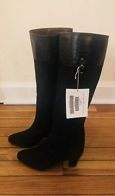 Brand New. Authentic Vintage Celine Suede Knee High Black Boots - Size 35