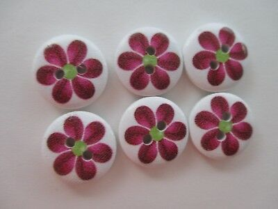 6 x 15mm Maroon on White - Round Buttons 2  Holes No.1386
