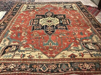 antique persian heriz serapi rug Handwoven Old Rare Collectible Carpet Estate