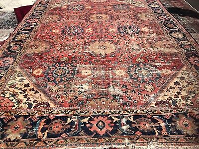 Antique Persian Mahal Sultanabad Rare Estate Rug Old Carpet