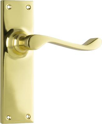 pair of polished brass victorian lever handles and backplates,152 x 42 mm
