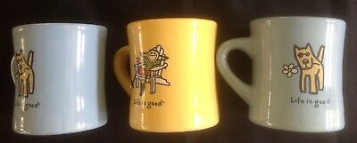 Life is Good Dog Mugs ( Lot of 3 ) Do What You Like Yellow & Lt. Blue 12 Oz. Ea.