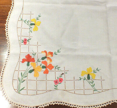 Vintage Embroidered Linen Tablecloth Orange Yellow Floral  Embroidery