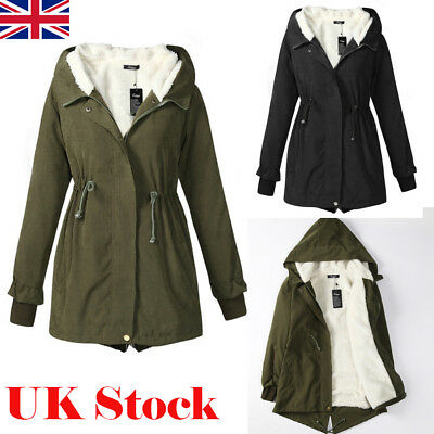Ladies Womens Hooded Winter Warm Fleece Jacket Trench Parka Padded Long Coat New