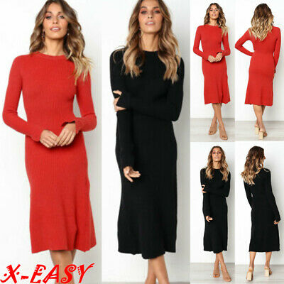 Women Long Sleeve Knitted Bodycon Jumper Dress Ladies Autumn Winter Party Dress