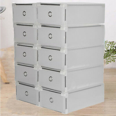 10X Plastic Clear Shoe Box Stackable Storage Case Organizer Home Space Saver