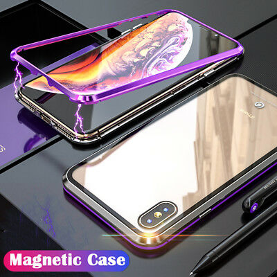 For iPhone XS Max XR Magnetic Adsorption Aluminum Metal Case Temper Glass Cover