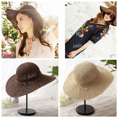 Summer Womens Wide Brim Hat Straw Beach Hats Outdoor Floppy Foldable Sun Caps AU