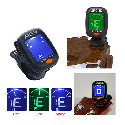 Chromatic Guitar Tuner Violin Ukulele Bass LCD Electronic Digital Clip on