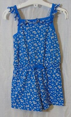 Girls George Dusky Blue White Ditsy Floral Ruffled Shorts Playsuit Age 2-3 Years
