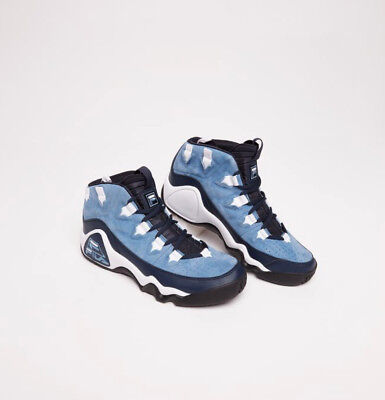 81951dbbdf5d Mens Fila 95 SLIP Grant Hill Retro Classic Basketball Shoes Ink Light Blue  White