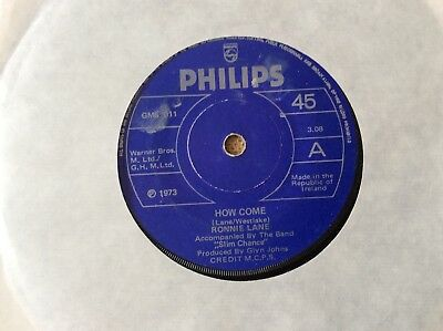 "Ronnie Lane, How Come, 1973 Irish 7"" EP, Philips ‎– GMS 011"
