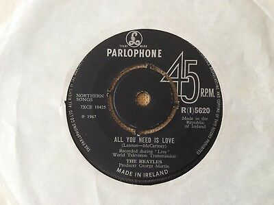 "The Beatles, All You Need Is Love, 1967 Irish 7"", Parlophone ‎– R(I)5620"