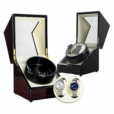 Automatic Double Dual Watch Winder Wood Display Box Case Storage Quiet Motor