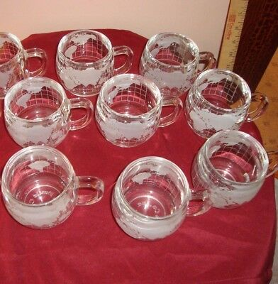 1 NESTLE NESCAFE Heavy Etched Glass WORLD GLOBE Round Mugs Cups Frosted.
