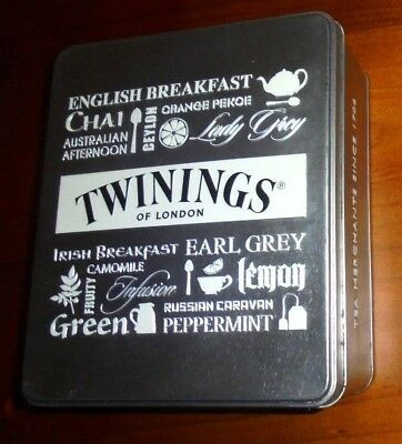 Twinings of London Collectable Tea bag Tin from 2015 ~ Tea flavors embossed lid!