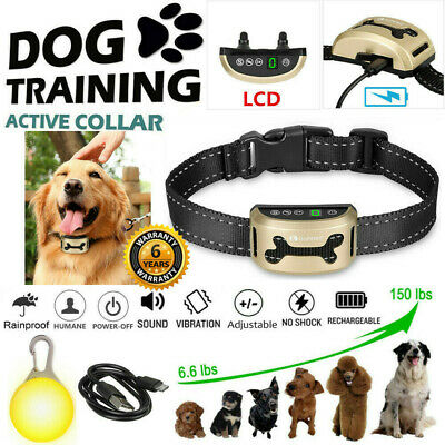 Rechargeable Anti Dog Barking Collar No Bark Control Belt LCD w/ Sound&Vibration