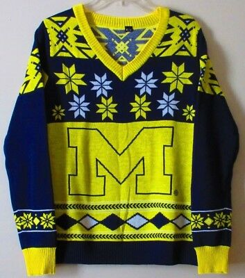 New Michigan Wolverines Sweater Yellow Blue Womens Size XL
