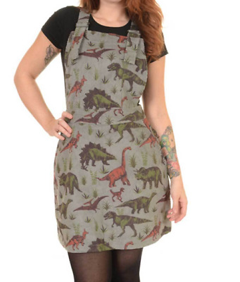 Run /& Fly 80/'s//90/'s retro style pinafore dress in gold twill with  bee pattern