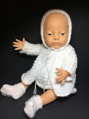 Lovely Baby Doll Hard Body Hand Knitted Crochet Outfit White 42cm
