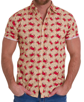 Mens Run & Fly 50S/60S Retro/vintage/hawaiian Biege With Multi Crab Print Shirt