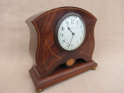 Antique Inlaid Solid Mahogany French Clock For Spares Or Repair