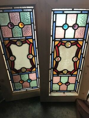 SG 2512 two available price separate antique stained Jeweled painted in fired …