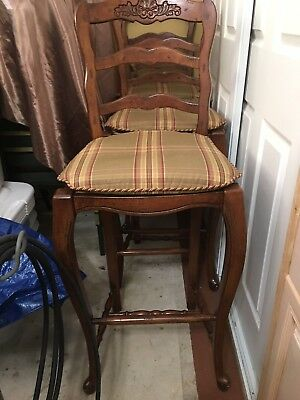 French Country High Bar Stool 3 Vintage With Carved Design Hardwood