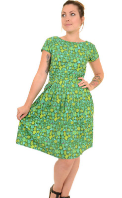 WOMENS RUN & FLY Retro Vintage 50's style tea dress in green with cactus print
