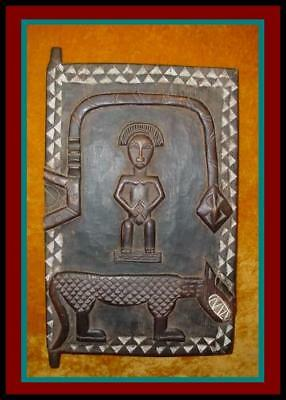 AUTHENTIC DECORATIVE AFRICAN DOGON HAND CARVED WOOD Hinged GRANARY DOOR Shutter