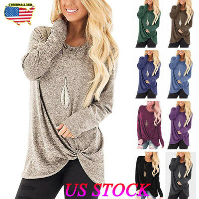 US Womens Long Sleeve Shirt Tops Ladies Casual Loose Pullover Blouse Sweatshirt