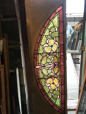 SG 2521 antique Stainglass Arch Window 23 x 71 jewels