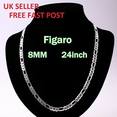 "Mens Curb Chain 925 Sterling Silver Filled Plated Necklace 24"" 6mm+FREE GIFT BAG"