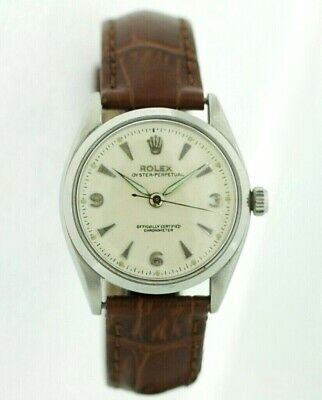 Rolex Oyster Perpetual 6564 Stainless Steel Leather Strap Automatic Men's Watch