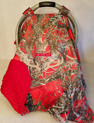 Infant Car Seat Canopy Red Camo Baby Minky Lining Custom Embroidery Antlers