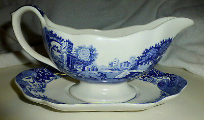 Vintage 2 pc Set Spode Italian Blue & White Gravy Boat with Underplate