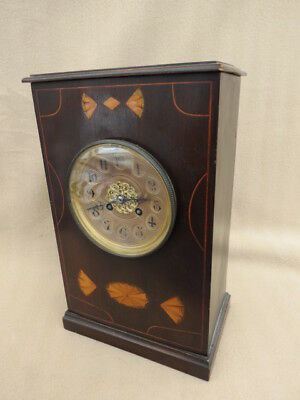 Antique French Inlaid Mahogany Clock For Light Tlc.