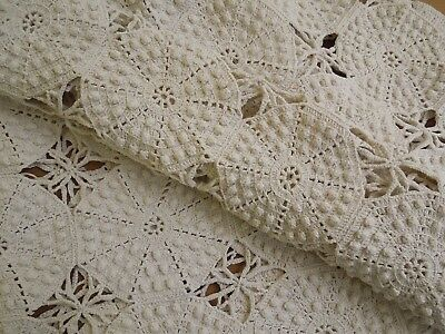 """Antique dimensional Hobnail Crochet French country 85x25"""" Ecru Tablecloth/runner"""