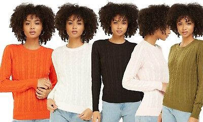 Ladies Ex H&M Cable Knit Long Sleeve Women's Jumper Casual Wear For Winter