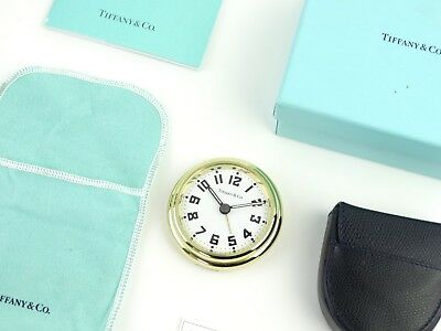 AUTHENTIC Tiffany & Co. BRASS AVIATOR QUARTZ TRAVEL ALARM CLOCK / ORIGINAL CASE