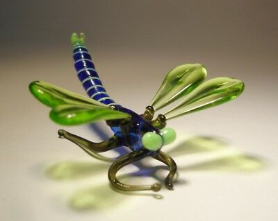 Blown Glass Art Insect Figurine Small Green and Blue DRAGONFLY