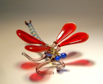 Blown Glass Art Insect Figurine Small Red DRAGONFLY with Blue Eyes